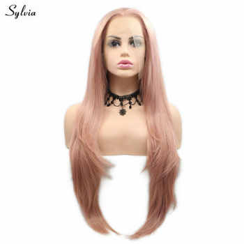 Sylvia Long Straight Wig Heat Resistant Synthetic Hair Pink Lace Front Wigs For Women Flawless Hairline Cosplay Glueless Wig