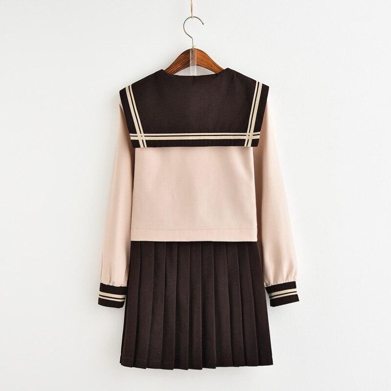 Nouveau japonais/coréen mignon filles marinière costume étudiant école uniformes vêtements tenues courtes/longues manches chemises + jupe ensembles - 5