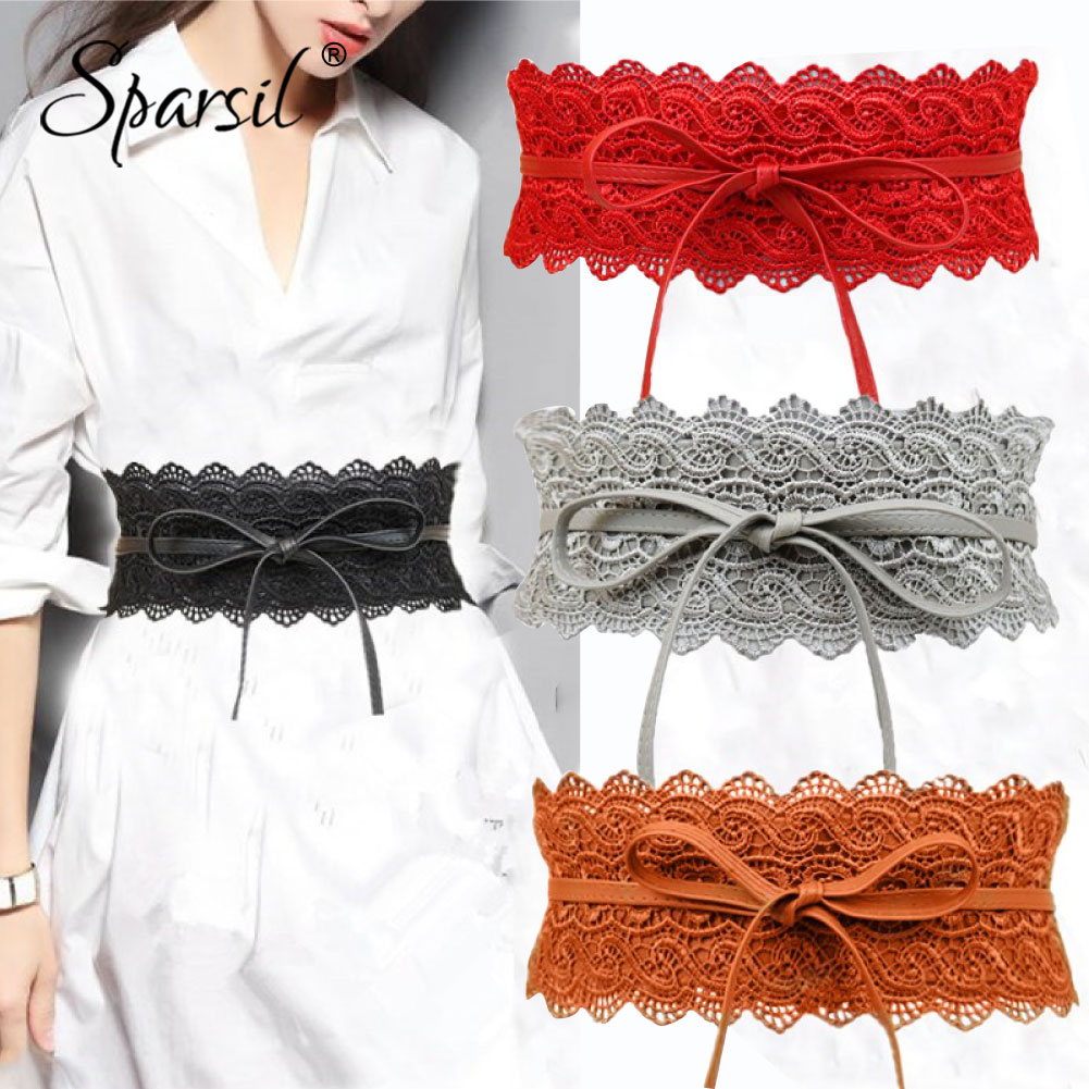 Spasril Women 2019 Wide Lace Corset Waist Belt Slim Fit Belts Bowknot Tie Girdle Faux Leather Cummerbunds Female Dress Waistband