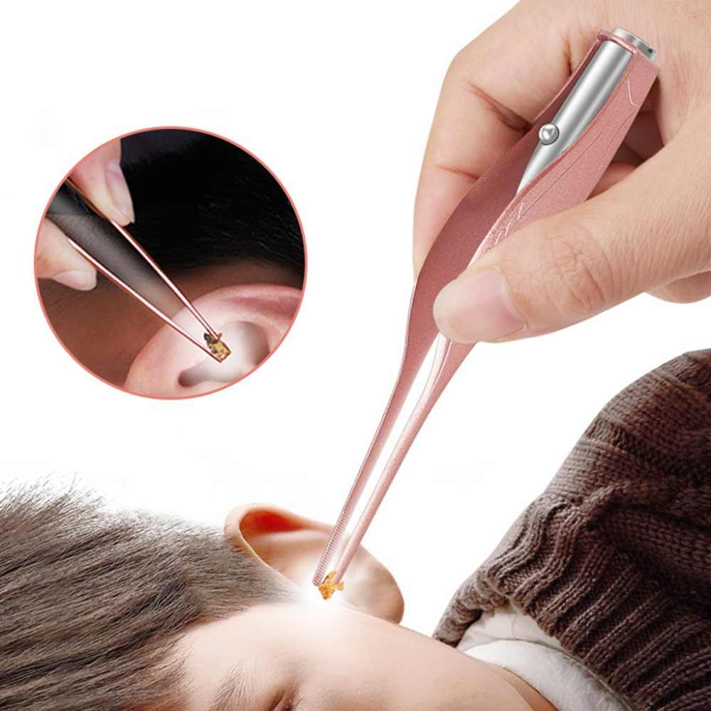 Zlrowr orelha cleaner led lanterna earpick remoção de cera pinça luminosa crianças cuidados de saúde