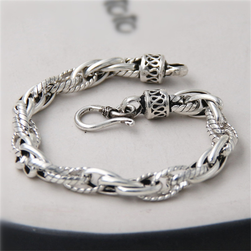 JINSE 100% Real Pure 925 Sterling Silver Bracelets for ...