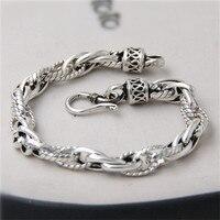 JINSE 100% Real Pure 925 Sterling Silver Bracelets for Women Men Fine Jewelry Vintage S925 Solid Thai Silver Chain Bracelet