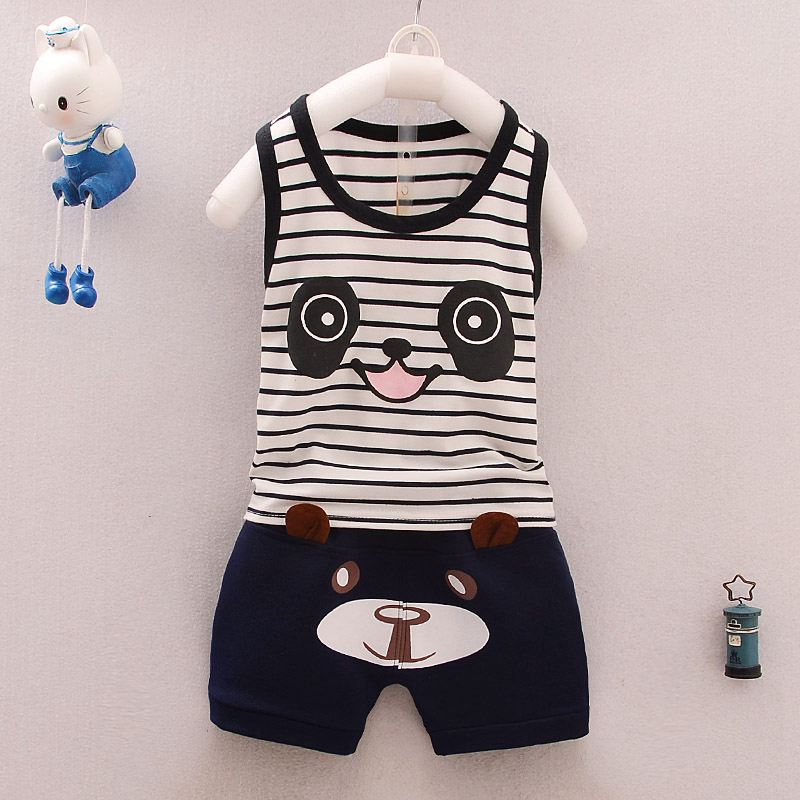 2017 Baby Boys Clothing  Toddler Summer style suits Baby Kids Clothes Sets Cotton Sleeveless Vest + Striped Shorts Cartoon sets