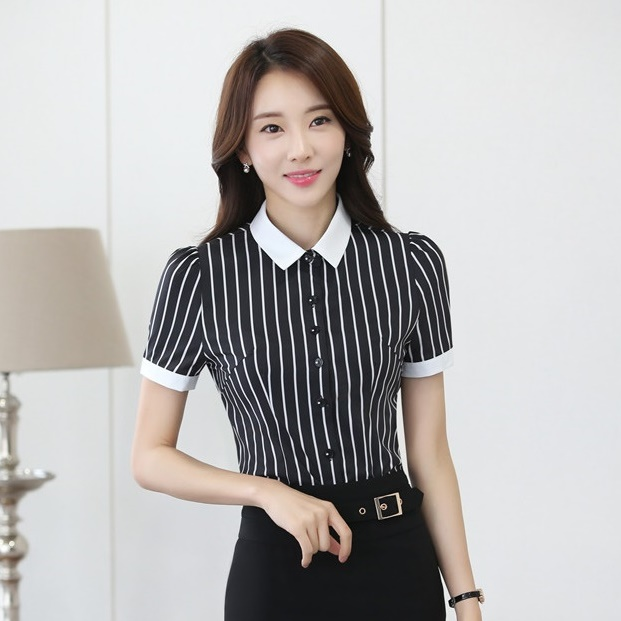Formal Black And White Striped Blouses For Women Summer Shirts Short