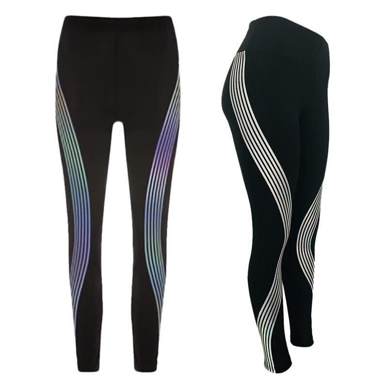 Moda Arcobaleno Riflettente Leggings push up di Fitness leggings Pantaloni Sportswear Glow In The Dark legging fitness feminina accademico