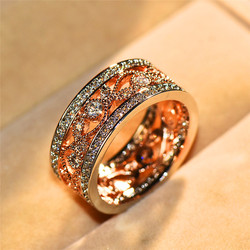 Cute Female Rose Gold Flower Ring Luxury Crystal Silver Color Bridal Engagement Ring Vintage Wedding Bands Rings For Women