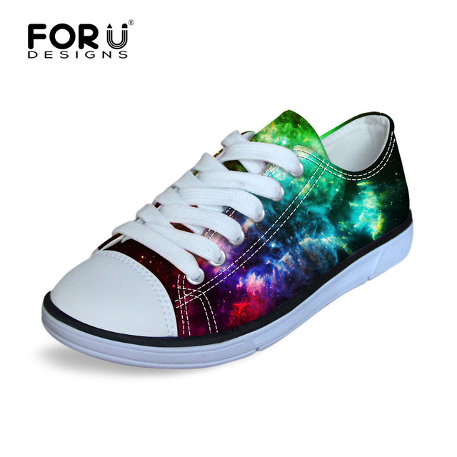 FORUDESIGNS Canvas Children's Flat Walking Shoes Galaxy Star Comfort Sneakers Kids Lace-up Low Top Shoes Size 29-34 for Boys