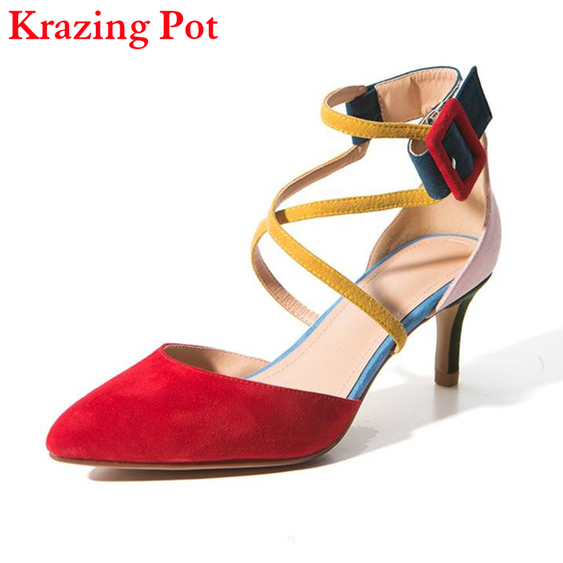 Fashion Brand Autumn Shoes Pointed Toe High Heel Mixed Colors Ankle Strap Buckle Women Pumps Sheep Suede Office Lady Sandals L30 make up rotary eyeshadow pen black