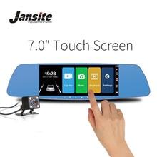 Jansite 7 дюймов сенсорный экран автомобильный dvr двойной объектив камера заднего вида зеркало видео рекордер Дэш Камера авто камера портативный рекордер