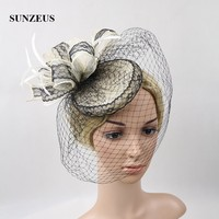Black Lace Wedding Bridal Hats for Women Linen Vintage Party Hats Wedding Accessories with Face Veil chapeau mariage noir SH03