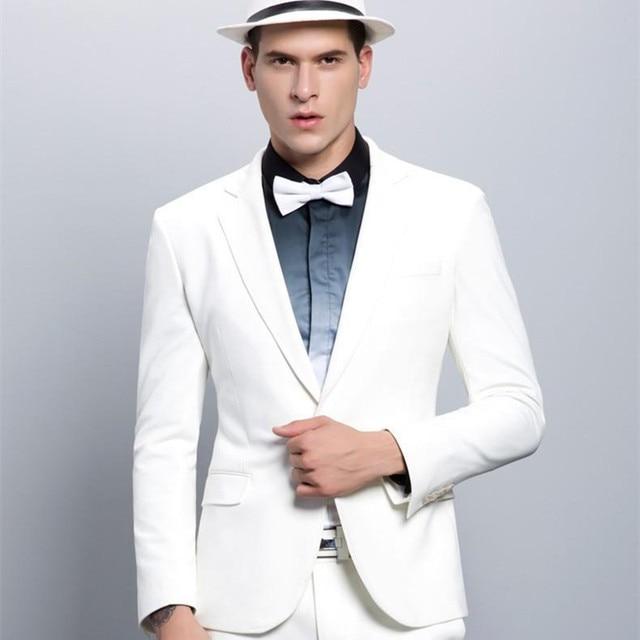 ec19a77ac9 Bonito de Alta Qualidade Dos Homens Magros Blazer Branco Slim Fit Ternos Do  Noivo Ternos Partido