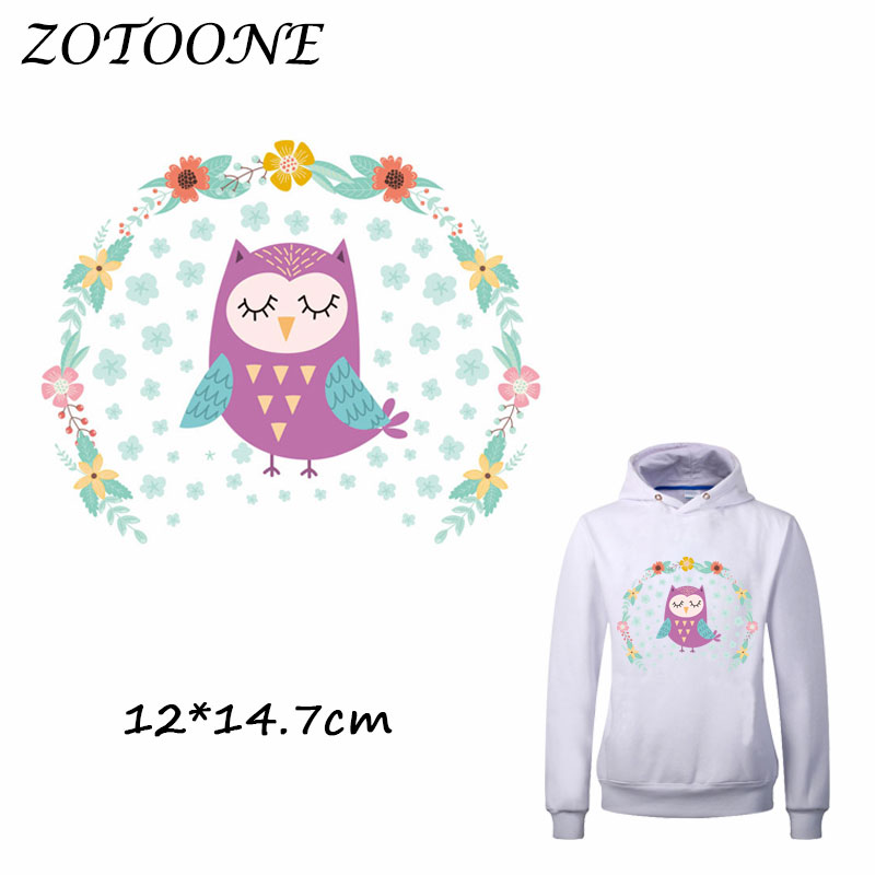 ZOTOONE Iron on Stickers Patches for Clothes Cute Flower Owl Patch DIY Accessory A-level Heat Transfer Appliques C
