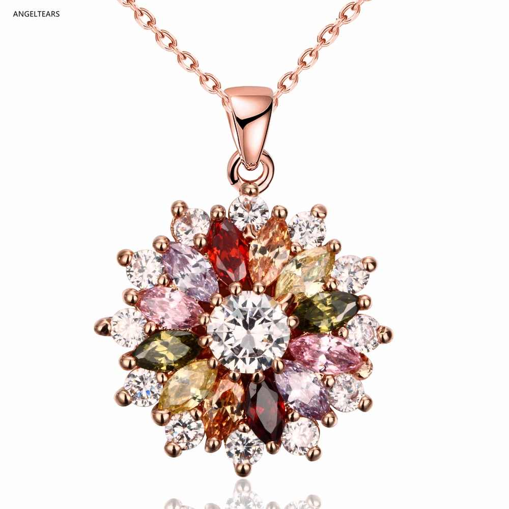 Beautiful rose gold color flower pendant necklace with AAA crystal zircon woman fashion dress Jewelry christmas gift Collier