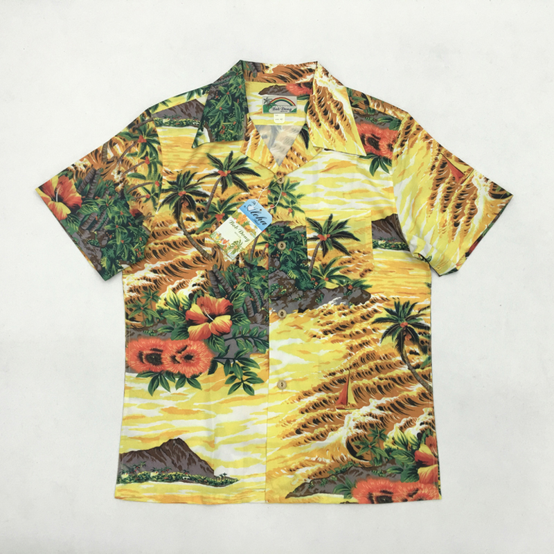 Bob Dong Aloha Shirts Hawaii Coconut Tree Men Beach Shirt Summer Short Sleeve Hawaiian Shirt Vacation Tops Camisa Masculina image