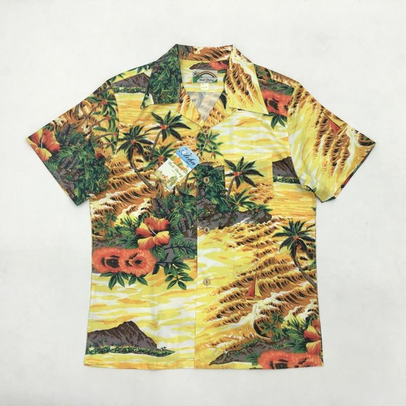 Bob Dong Aloha chemises Hawaii cocotier hommes chemise de plage d'été à manches courtes chemise hawaïenne vacances hauts Camisa Masculina