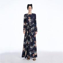 Muslim Long Robe Gowns Tunic Kimono Jubah Ramadan Dubai Arab Islamic Clothing Abaya Print Crepe Maxi Dress Cardigan Full-length недорого