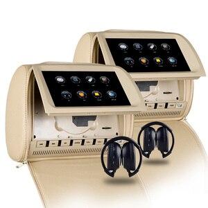 Image 2 - XST 2PCS 9 אינץ רכב משענת ראש צג מגע מסך DVD וידאו MP5 נגן רוכסן כיסוי תמיכת IR/FM /USB/SD/רמקול/משחק