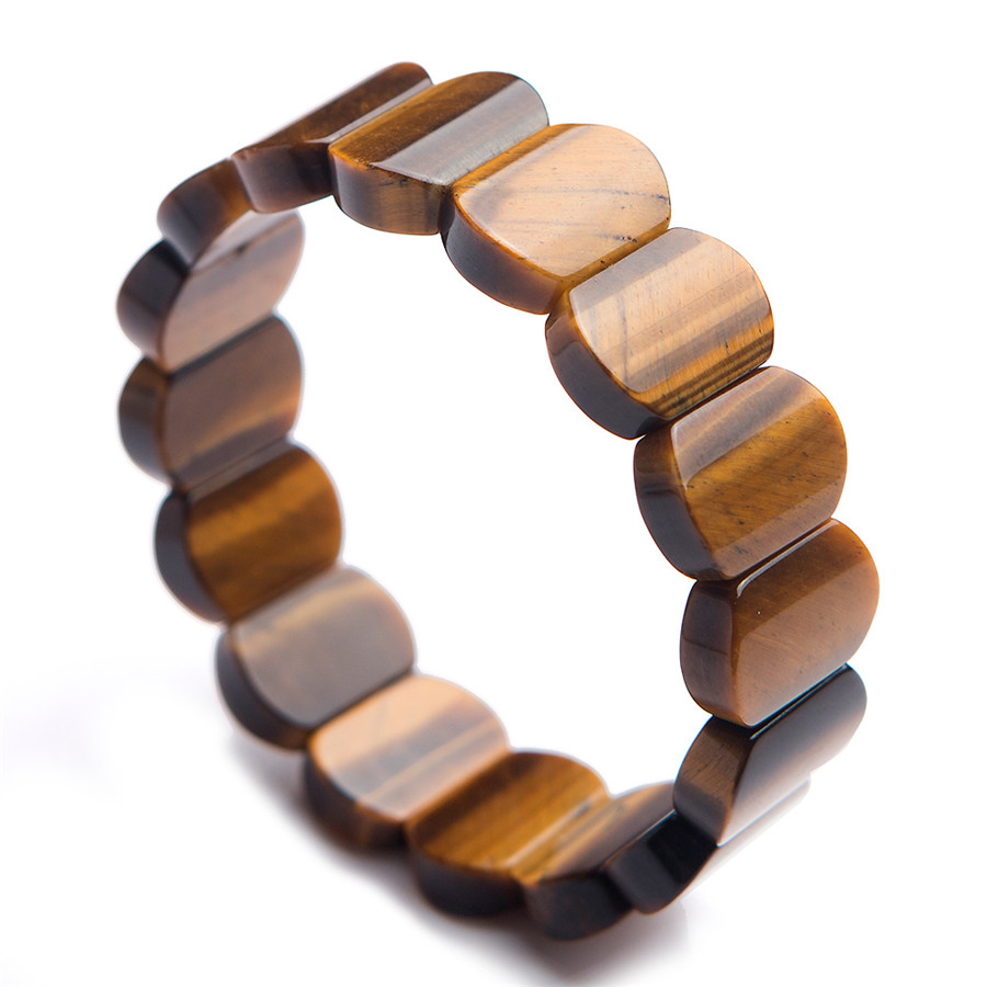 Genuine Yellow Natural Tiger Eye Bracelet Bangles For Women Men Stretch Crystal Rectangle Bead Natural Stone BraceletGenuine Yellow Natural Tiger Eye Bracelet Bangles For Women Men Stretch Crystal Rectangle Bead Natural Stone Bracelet