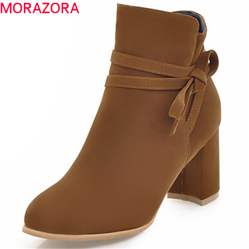 MORAZORA PU nubuck leather ankle boots for women high heels shoes woman fashion boots female zip solid bowtie big size 34-43 memunia height increasing shoes woman in spring autumn ankle boots for women pu nubuck leather fashion boots female solid zip