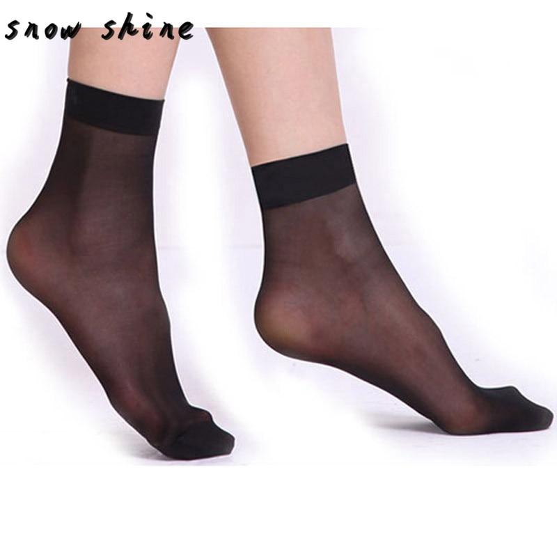 snowshine YLI 10 pairs Women Ultrathin Transparent Fiber Crystal Elastic Short Socks free shipping
