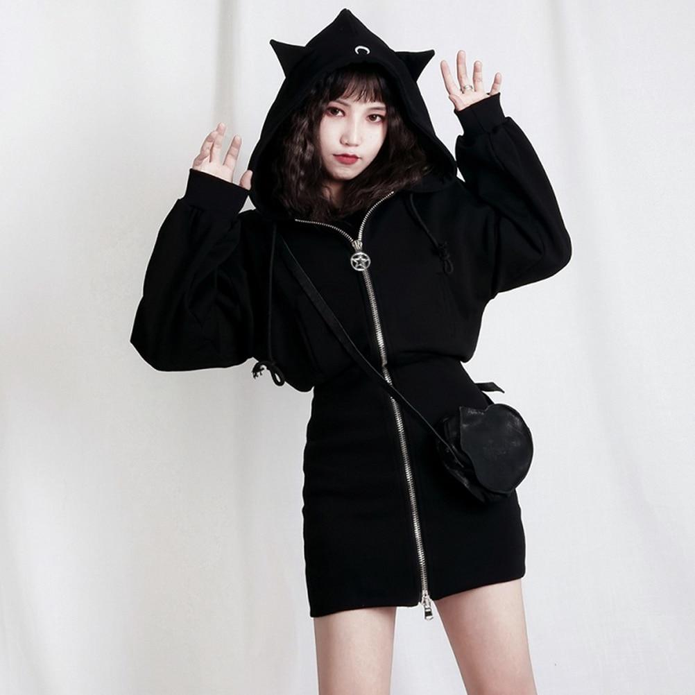 60d4609b771 Long Hoodies Gothic Casual Chic Zipper Black Thicker Women Sweatshirts Loose  Ear Hooded Crescent Print Female Punk Hoodies-in Hoodies   Sweatshirts from  ...