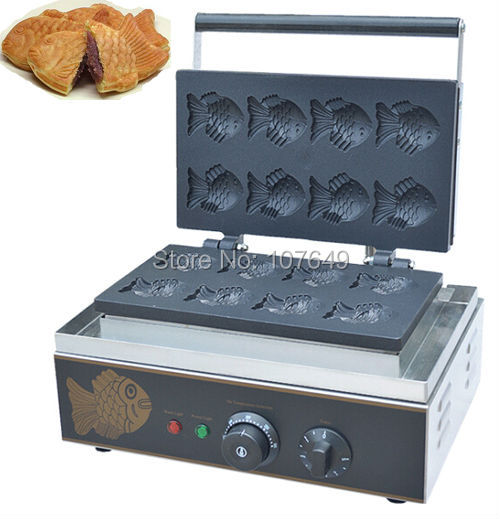 7x5cm 110v 220V Commercial Use Non-stick Electric 8pcs Fish Waffle Iron Machine Maker Baker free shipping commercial use non stick 110v 220v electric 8pcs square belgian belgium waffle maker iron machine baker