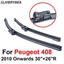 SLIVERYSEA Wiper Blades For Peugeot 408 2010 2011 2012 2013 2014 2015 2016 Silicone Rubber Windshield Wiper Auto Car Accessories стоимость