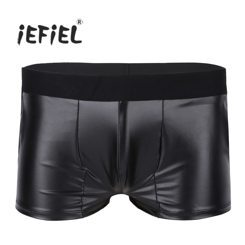 Black Mens Lingerie Soft Faux Leather Bulge U Pouch Boxer Shorts Underwear Underpants with Side Pockets Male Sexy Gay Panties