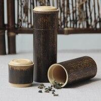 Vintage Chinese Natural Bamboo Storage Tank Organization Jar For Storage Coffee Bean Matcha Tea Candy Jams