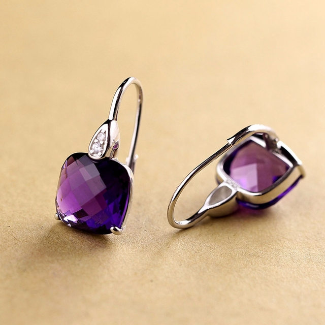 LouLeur 925 sterling silver natural stone Amethyst Citrine earrings pure handmade Amethyst citrine women drop earrings jewelry