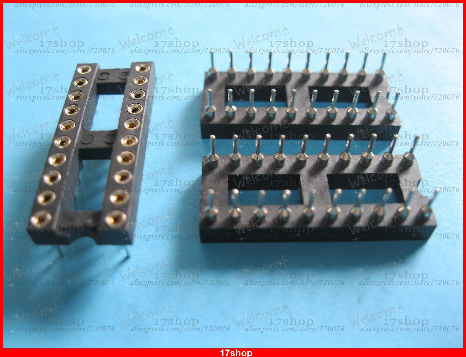 240 x IC Socket Adapter Round 20 Pin Headers & (IC )Sockets Pitch 2.54mm 7.62mm 60pcs lot 8 pin dip square hole ic sockets adapter 8pin pitch 2 54mm connector