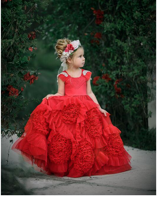 Girls Christmas Formal Dress 2017 Sleeveless Flower Girls Dresses Kids Diamond Pleated Party Ball Gown Children's Wedding Dress sun flower print pleated dress