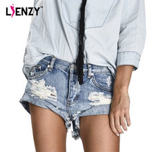 LIENZY Summer Casual Women Jeans Shorts Ripped Light Color Vintage Light Blue Tassel Women Denim Shorts Bottom