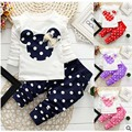 Baby sets new 2016 casual Minnie spring long sleeve o-neck dot t shirt+pant kids girls clothing newborn girl clothes BBS027