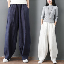 Streetwear Donne Gamba Larga Pantaloni di Cotone di Tela Tasche Pantaloni A Vita Alta Dei Pantaloni Lanterna Solido Più Il Formato M 7XL Khaki Nero