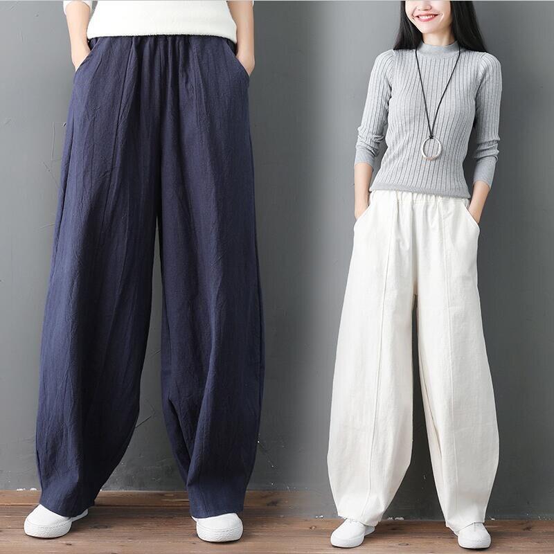 Streetwear Women Wide Leg Pants Cotton Linen Pockets High Waist Pants Lantern Trousers Solid Plus Size M-7XL Khaki Black