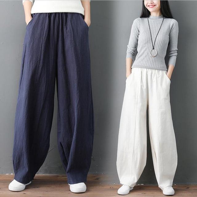 Streetwear Women Wide Leg Pants Cotton Linen Pockets High Waist Pants Lantern Trousers Solid Plus Size M 7XL Khaki Black