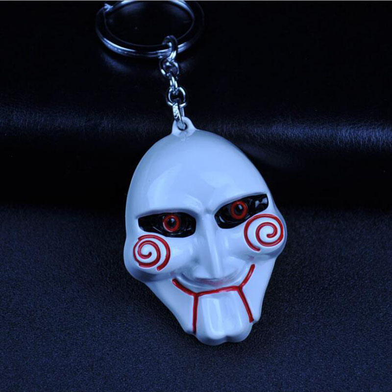 10 Teile/los Mode Schmuck Hot Film Sah Keychain Maske Metall Legierung Schlüssel Kette 3 Farben Film Schlüssel Kette Ring Souvenirs Für Männer