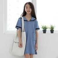 4 9 Yrs Summer Girl Dress Demin Fabric And Navy Design Children Dresses In Korean Baby