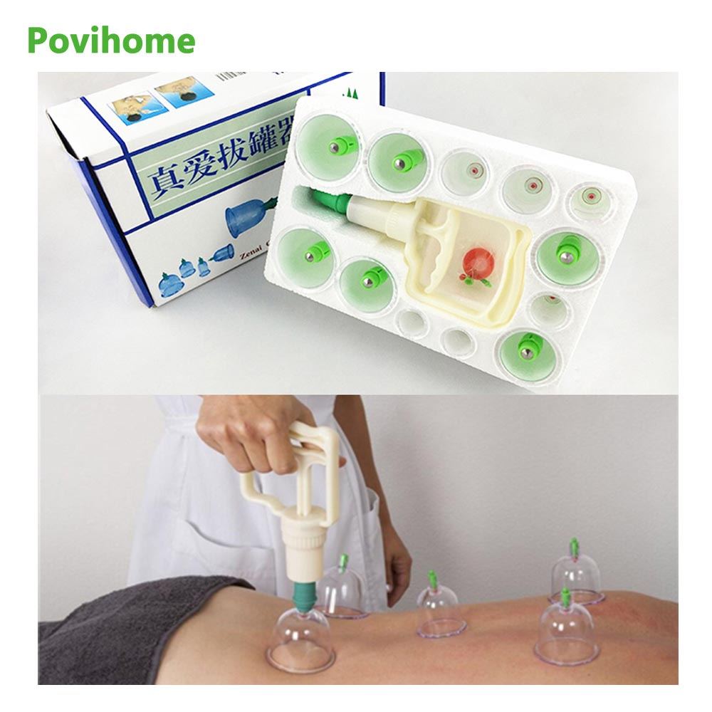 12Pcs Cupping Device Acupuncture Suction Cup Set Massage Cup Magnetic Therapy Vacuum Cups Body Massage Tank Gas Cylinders C839