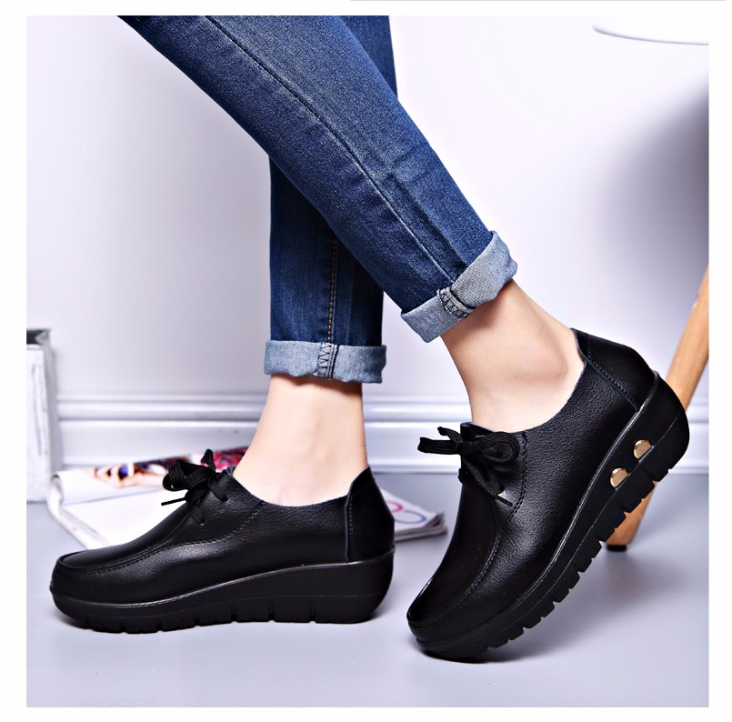 Women Oxfords Leather Shoes New Arrival Round Toe Lace Up Casual Women Flats Size 35-41 Flat Heels Platform Ladies Shoes NX27 (20)