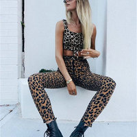 New Leopard Printed Pants Vintage High Waist Casual Women Female Pencil Slim Autumn Winter All matched Feet Pants