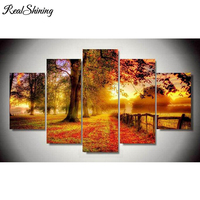 REALSHINING 5d Cross Stitch Square Diamond Embroidery Autumn Diamond Mosaic Diy Diamond Painting Forest Trees Wall