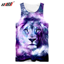 все цены на UJWI Summer Cool Tank Top Men's Print Galaxy Space Lion King 3d Tanktop Man Bodybuilding Fitness Workout Sleeveless Shirt Vest онлайн