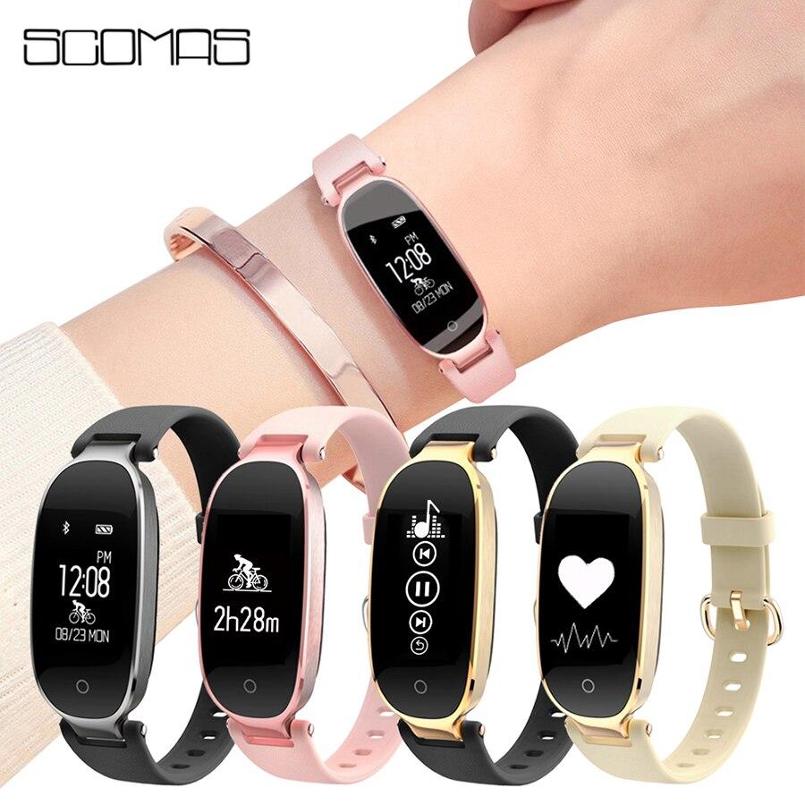 SCOMAS 2018 impermeable señoras Bluetooth inteligente relojes pantalla táctil Fitness Tracker deportes Smartwatch Wristband para las mujeres