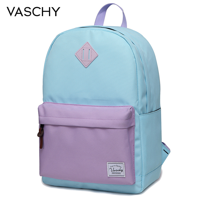 VASCHY School Bag for Girls Classic Water Resistant Rucksack School Backpack 14Inch Laptop for Teenager Women Backpack