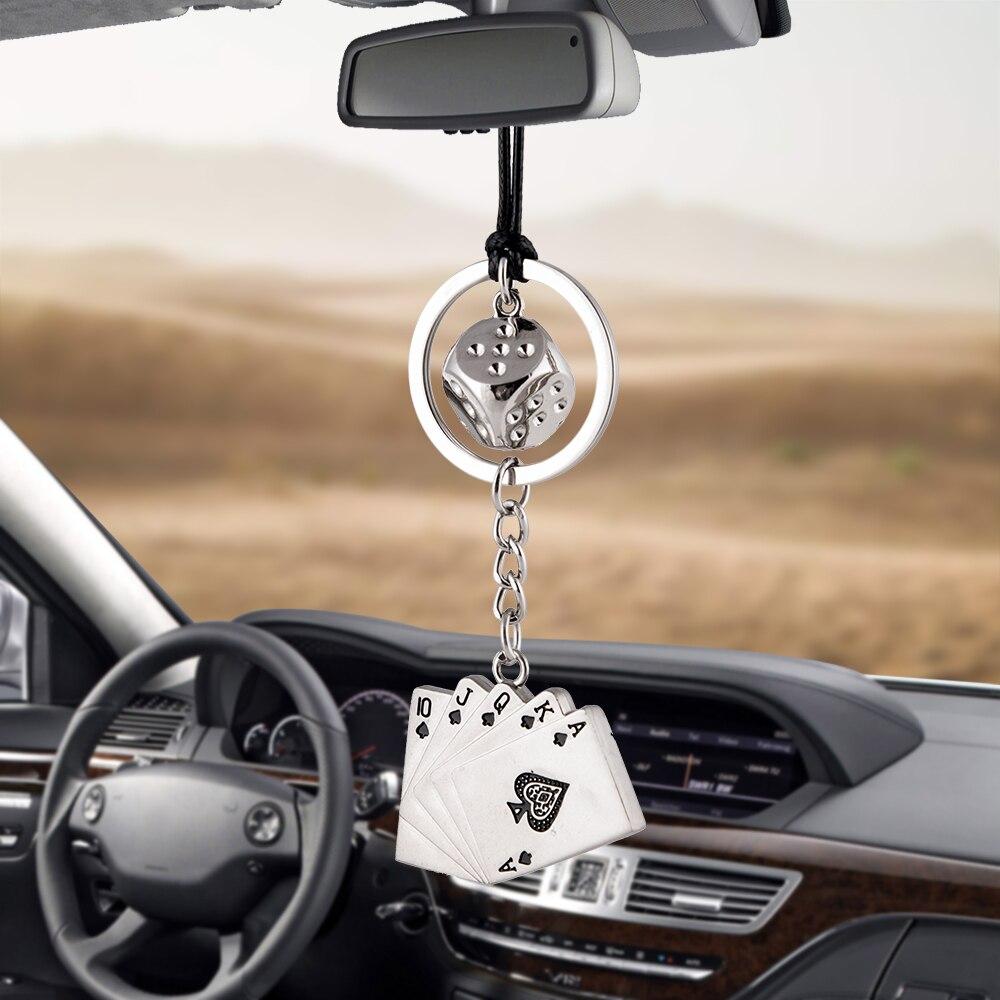 Car Pendant Car Pendant Charm Dice Poker Rearview Mirror Decoration Hanging Ornaments Automobiles Interior Cars Accessories