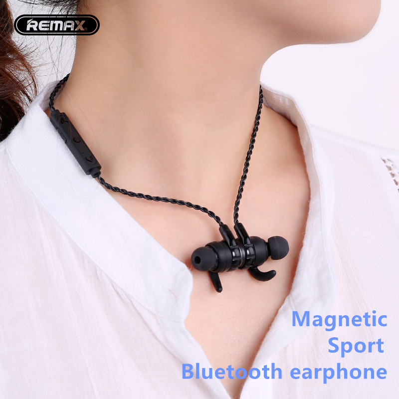 Remax Magnetic Adsorption Wireless Sports Earphone Bluetooth V4.1 Headset Stereo Earbuds Handsfree Multipoint Connection remax bluetooth v4 1 wireless stereo foldable handsfree music earphone for iphone 7 8 samsung galaxy rb 200hb