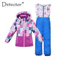 Detektor chłopiec dziewczyna kombinezon narciarski wodoodporna wiatroszczelna z kapturem kurtka i spodnie termiczne małe dziecko Ski snowboard oferty dzieci odzież