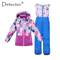 Detector Boy Girl Ski Suit Waterproof Windproof Hooded Jacket and Pant Thermal Little Kid Ski snowboard Bid Children Clothing